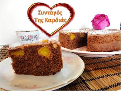 Κέικ σοκολάτας με ολόκληρα κομμάτια πορτοκαλιού