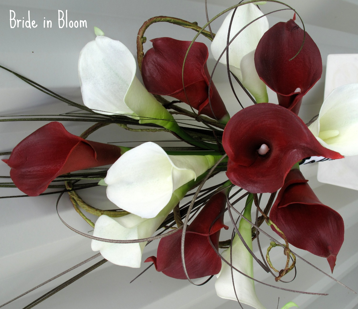 Bride in bloom bridal bouquet real touch red white