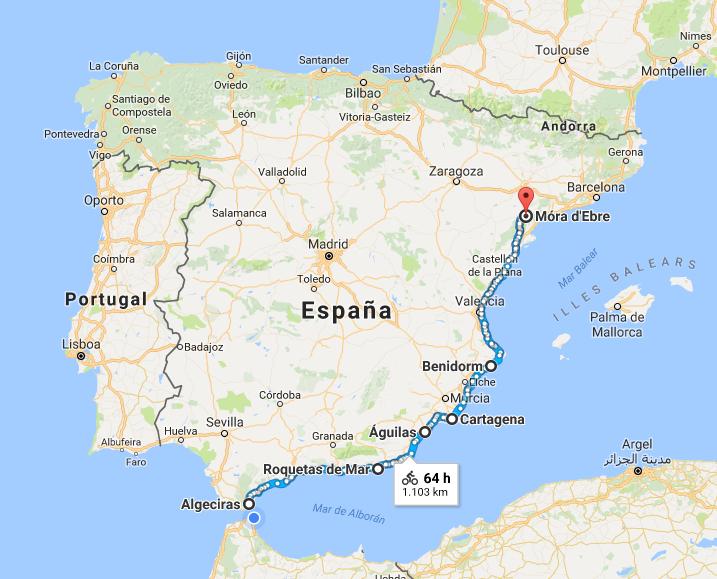 Vuelta a la Península Ibérica en cuatro años, Ruta 2017 Algeciras (Cádiz) - Mora D'Ebre (Tarragona)