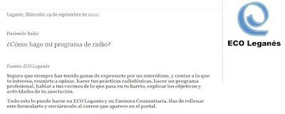 """Fragmento de www.ecoleganes.org """"¿Cómo hago mi programa de radio?"""""""