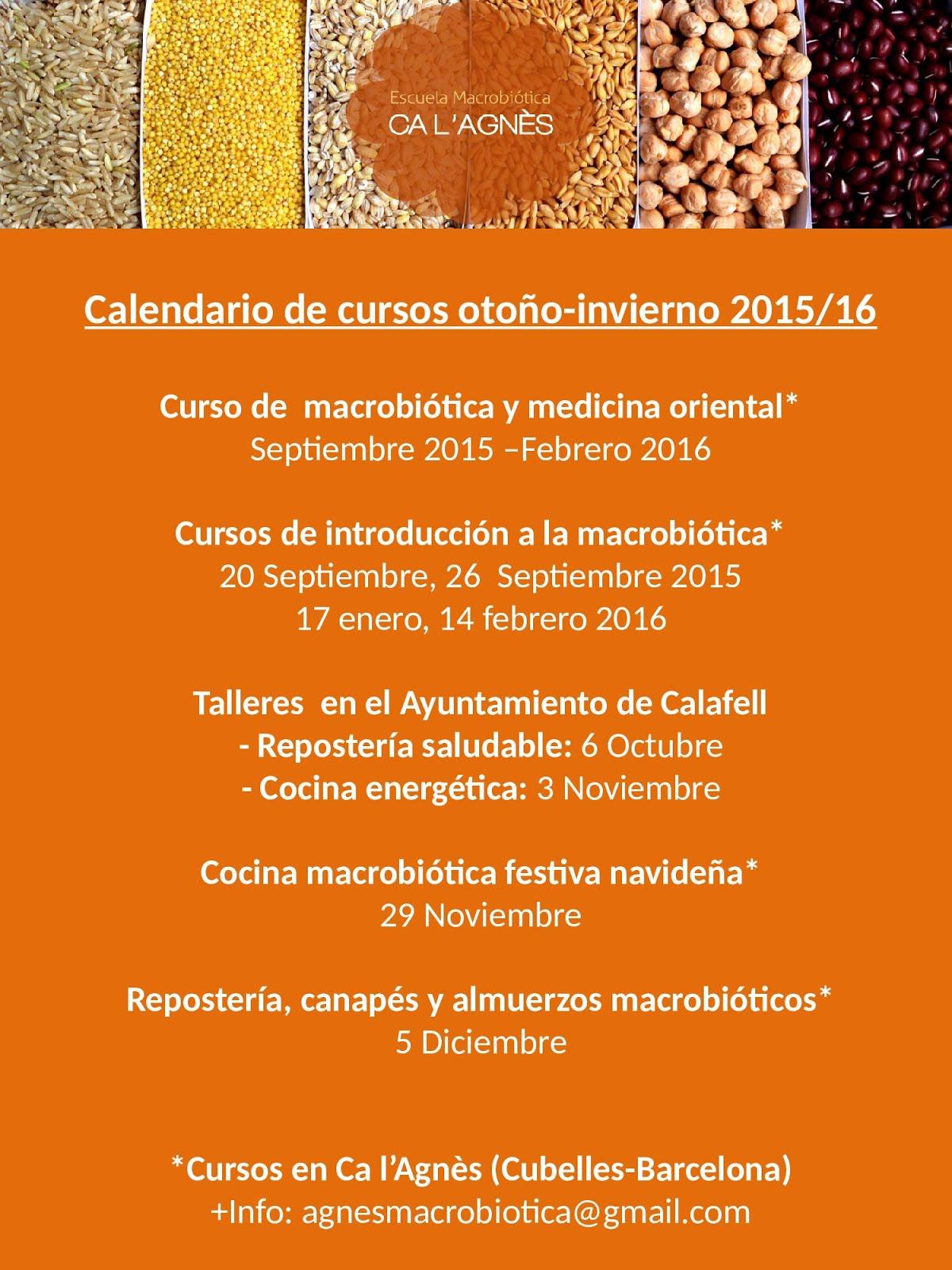 CALENDARIO DE CURSOS OTOÑO-INVIERNO 2015/16