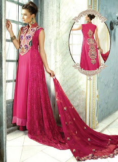 Attractive Net Pakistani Salwar Suits With Floral Embroidery