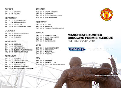 Manchester United Fixtures 2012-2013 [white]