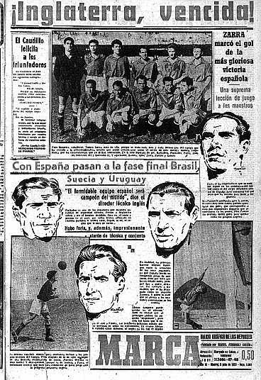 gol Zarra, Inglaterra, España, Brasil, 1950,