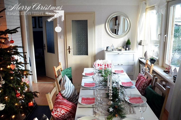 Weihnachten Esszimmer Interior rot weiß