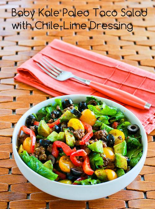 Baby Kale Paleo Taco Salad with Chile-Lime Dressing found on KalynsKitchen.com