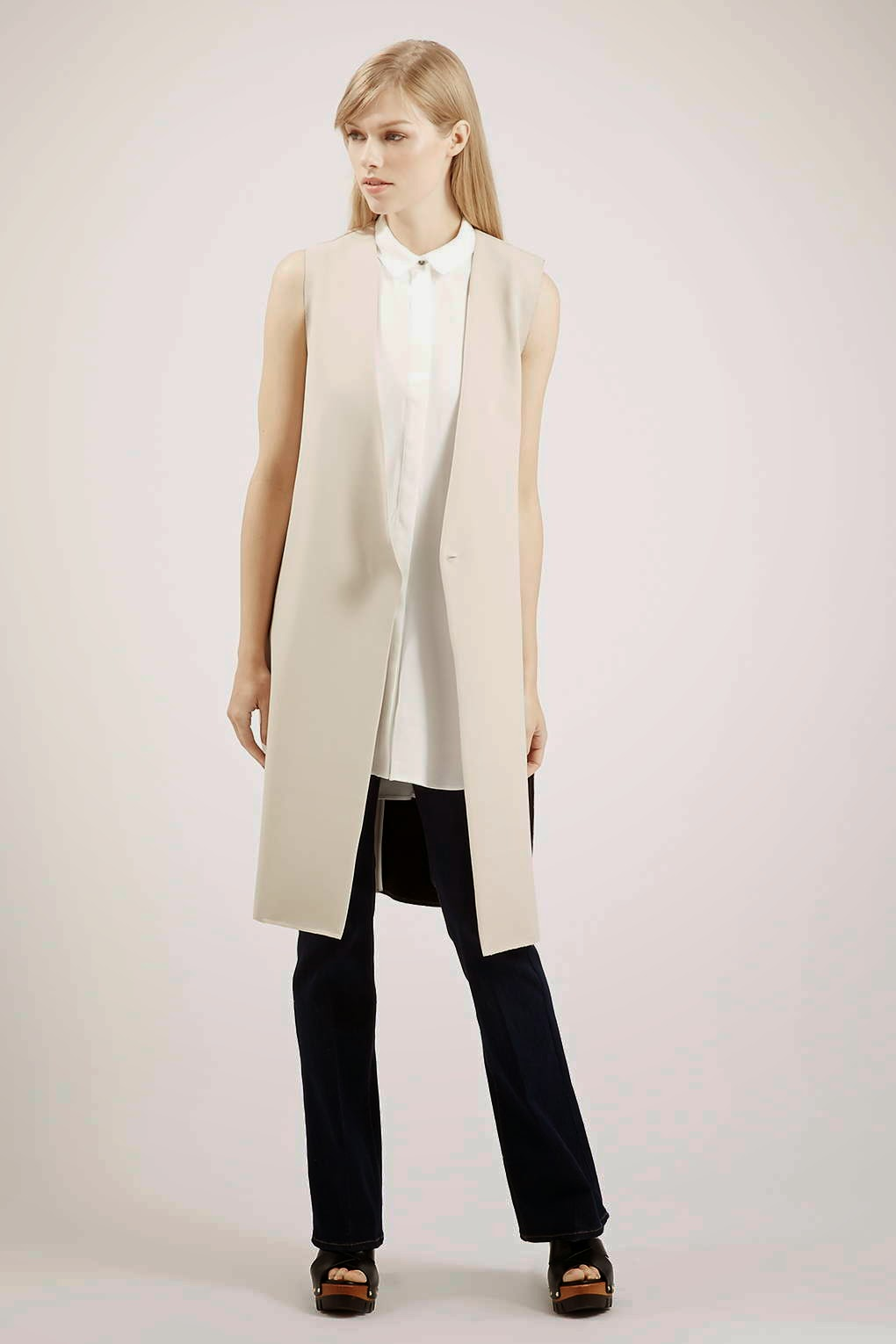 cream long waistcoat, sleeveless cream jacket,