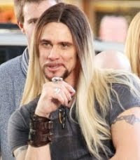 Jim Carrey on the movie set of Burt Wonderstone. He plays the movie villain of a sort.
