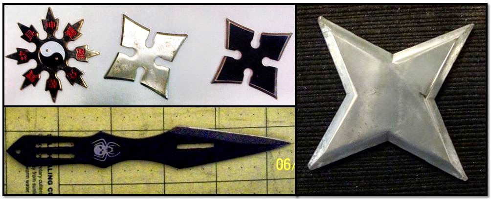Three Throwing Stars (JFK), Throwing Knife (JAX), Throwing Star (IAH)