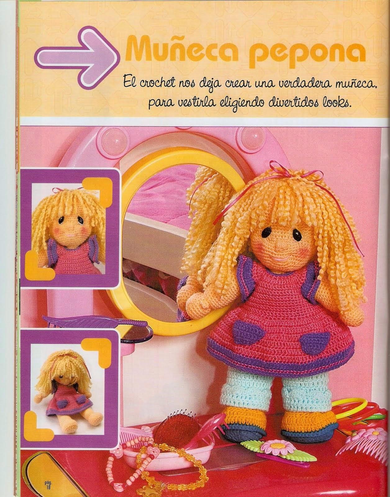 Muñeca pepona al crochet - paso a paso