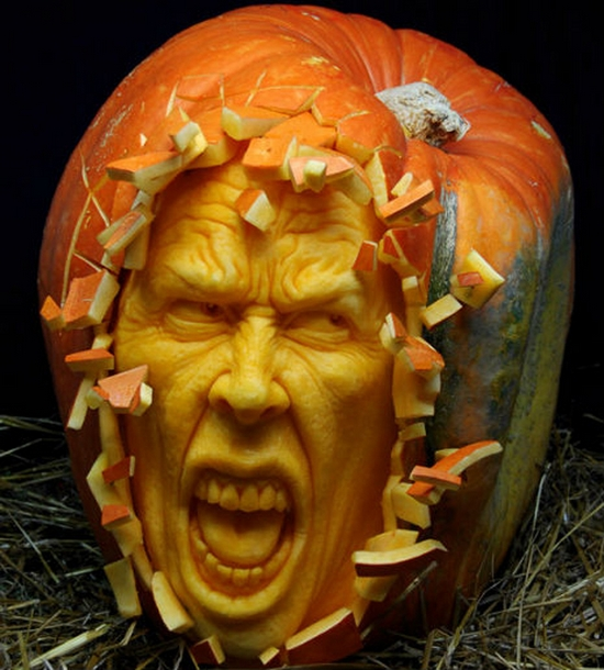 awesome carving artwork with halloween pumpkin
