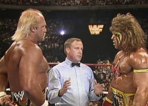 WWF / WWE - Wrestlemania 6: The Ultimate Warrior and Hulk Hogan stare down before making history in a classic main event