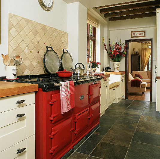 Cream kitchen tiles red kitchen home design blog for Country kitchen flooring