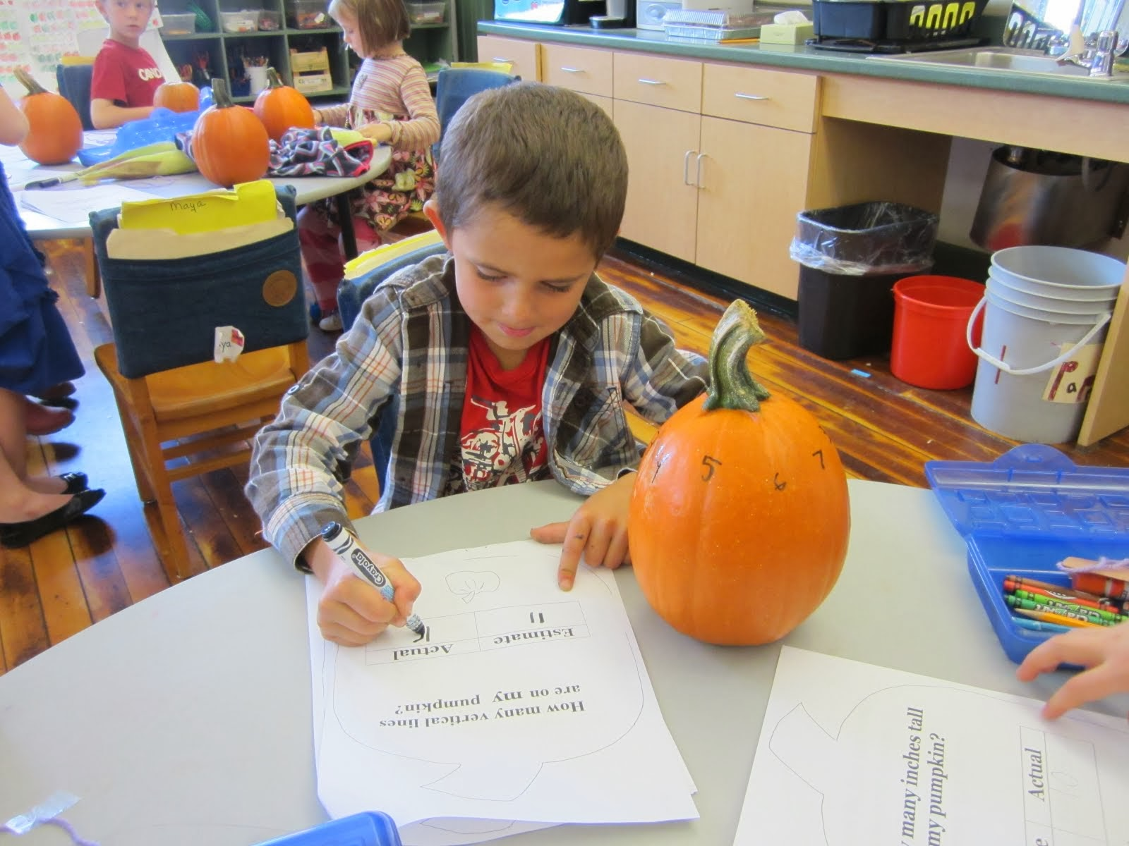 Recording the lines on a pumpkin