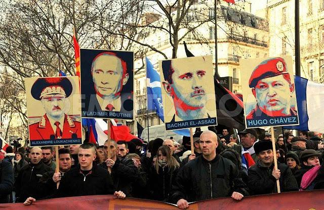 Manifestação pró-Putin em Paris, associado ao bolivarianismo, entretanto toma ares de 'extrema direita' para dissimular melhor.