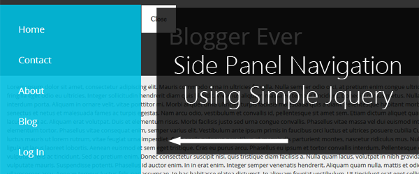 The simple side panel navigation for small screen sizes using Jquery