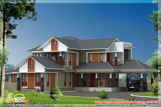 5 kerala style house 3d models enter your blog name here for Latest kerala model house plans
