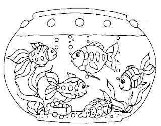 Desenho de aquários de peixes para colorir