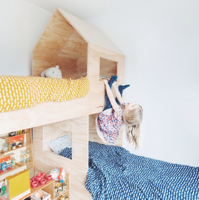 plywood self made bunk bed