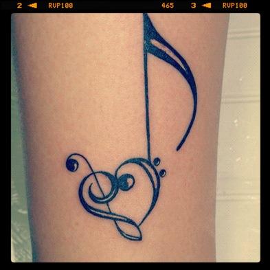 g clef heart tattoo  Sin música la vida