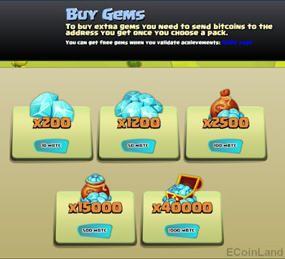 gem packages at shop, of the free Bitcoin faucet game CannonSatoshi