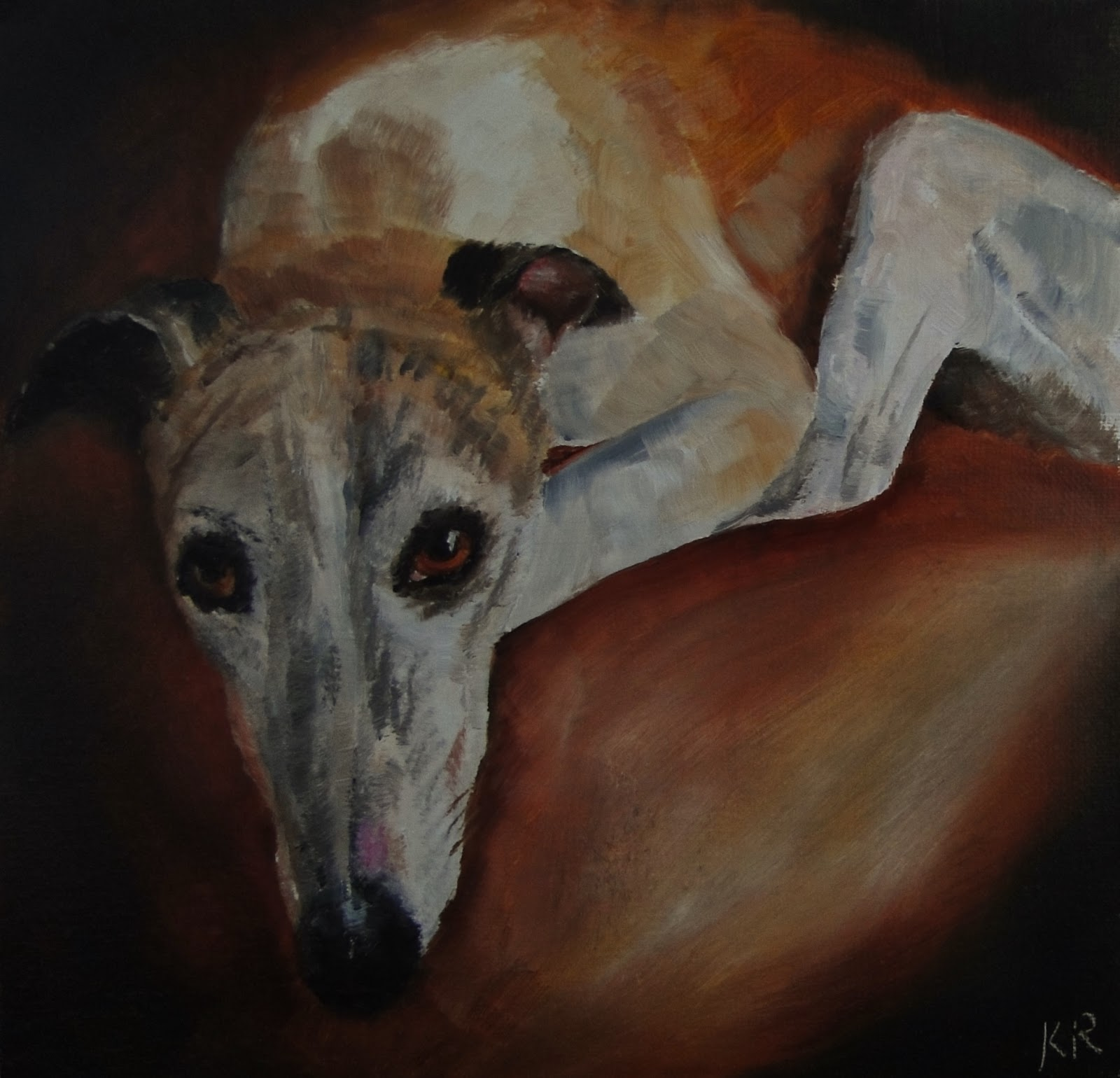 oil painting of a greyhound, a pet portrait by Karen, a dog painting