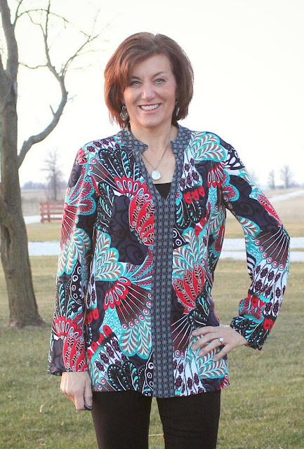 Vogue 9151 tunic with Mood Fabrics' Rayon print mix