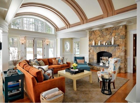Superbe Salon Avec Des Accents Marron Bleu Et Orange  Dcoration