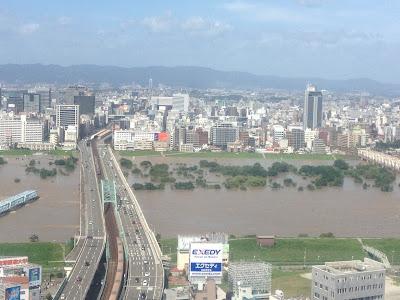 台風18号により淀川の水が大変な事に