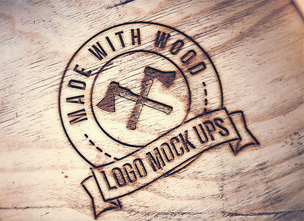 Download Logo Mockup PSD Terbaru Gratis - Engraved Wood Logo Mockup
