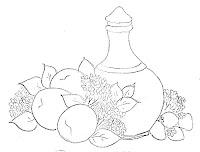 desenho de moringa de barro  com frutas para pintar