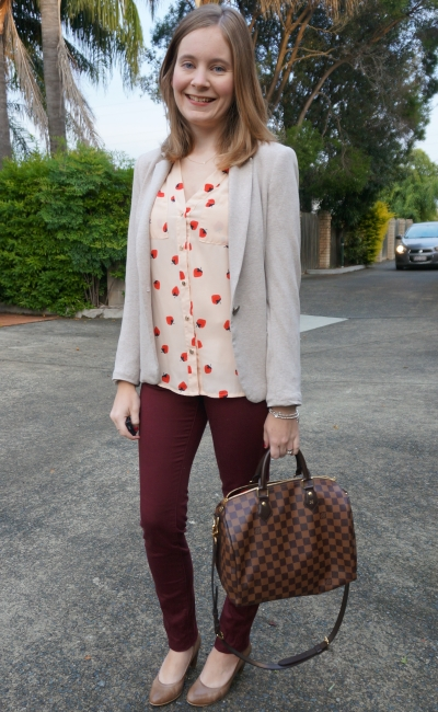 Marsala skinny pants for office with pink strawberry print shirt blazer heels