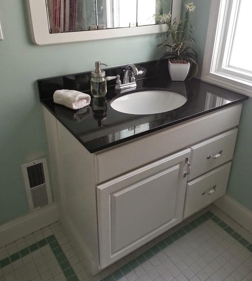 Mullens home bathroom vanity granite for Premade granite bathroom vanity tops