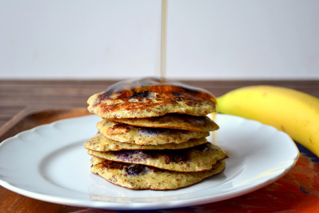 Banana Blueberry Protein Pancakes recipe