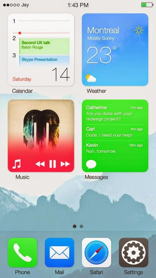Ngắm giao diện thiết kế iOS 8 kết hợp cùng Widget và Live Tile