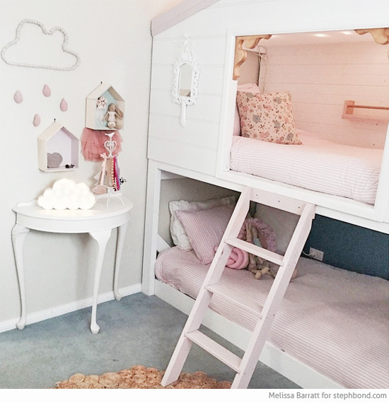 Fresh Loft bunk bed Made by Melissa and her husband Shadow Boxes Cotton On Rug The jute rug was from Spotlight White table Mumgo