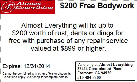 Coupon $200 Free Bodywork Discount December 2014