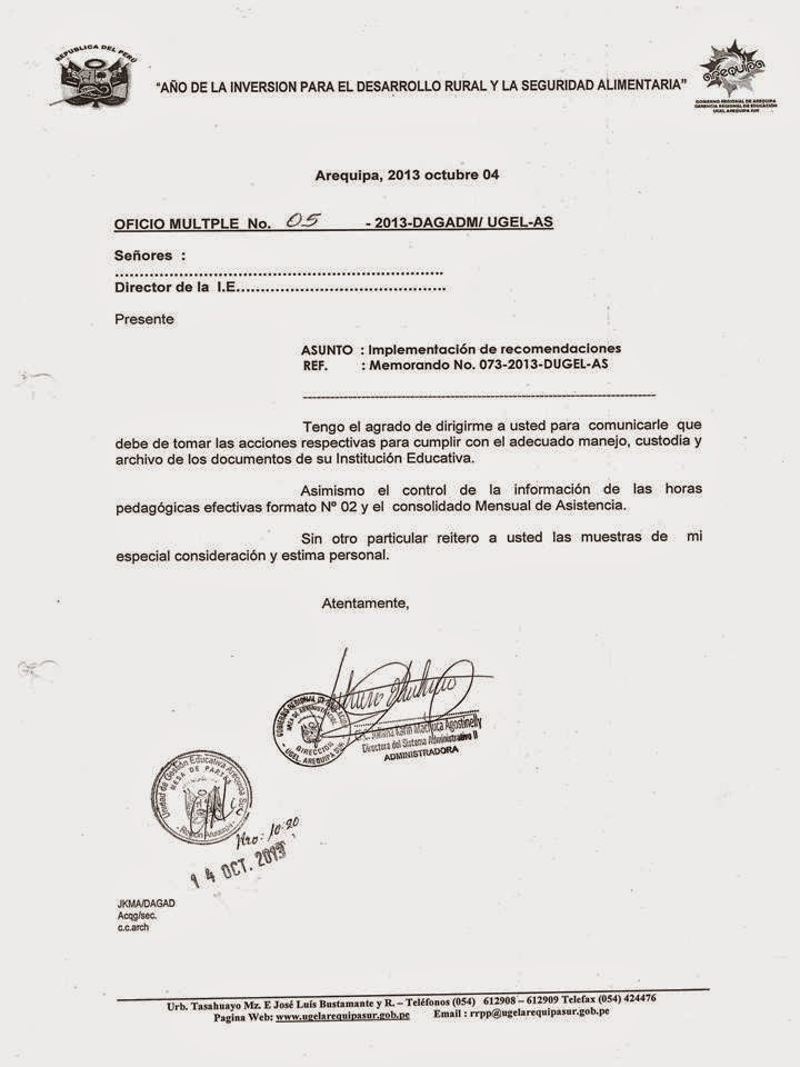 OFICIO MULTIPLE No 05-2013-PARA DIRECTORES DE IIEE SOBRE MANEJO, CUSTODIA Y ARCHIVO DE DOCUMENTOS