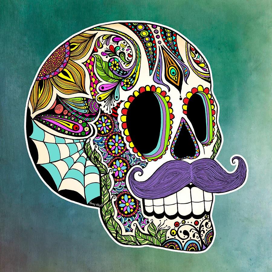forget me not smile mustache sugar skull. Black Bedroom Furniture Sets. Home Design Ideas