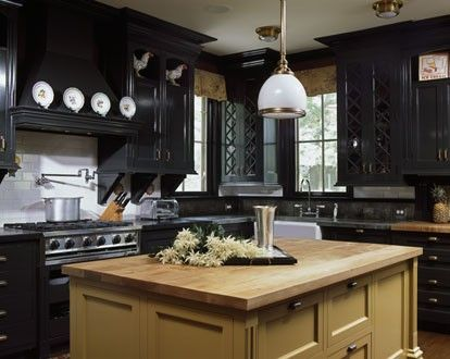 Black kitchen cabinets with stainless steel appliances - Black kitchen cabinets ideas ...