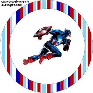 Toppers o etiquetas  Capitán América de para imprimir gratis.