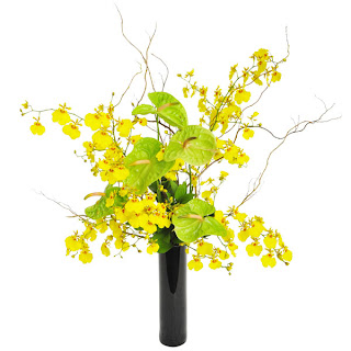 Base de cerâmica na cor preta confeccionada com antúrios verdes, orquídeas chuva de ouro de corte e vime torto. Perfeito para compor o ambiente. Dimensões: Alt= 50 cm Larg= 25 cm