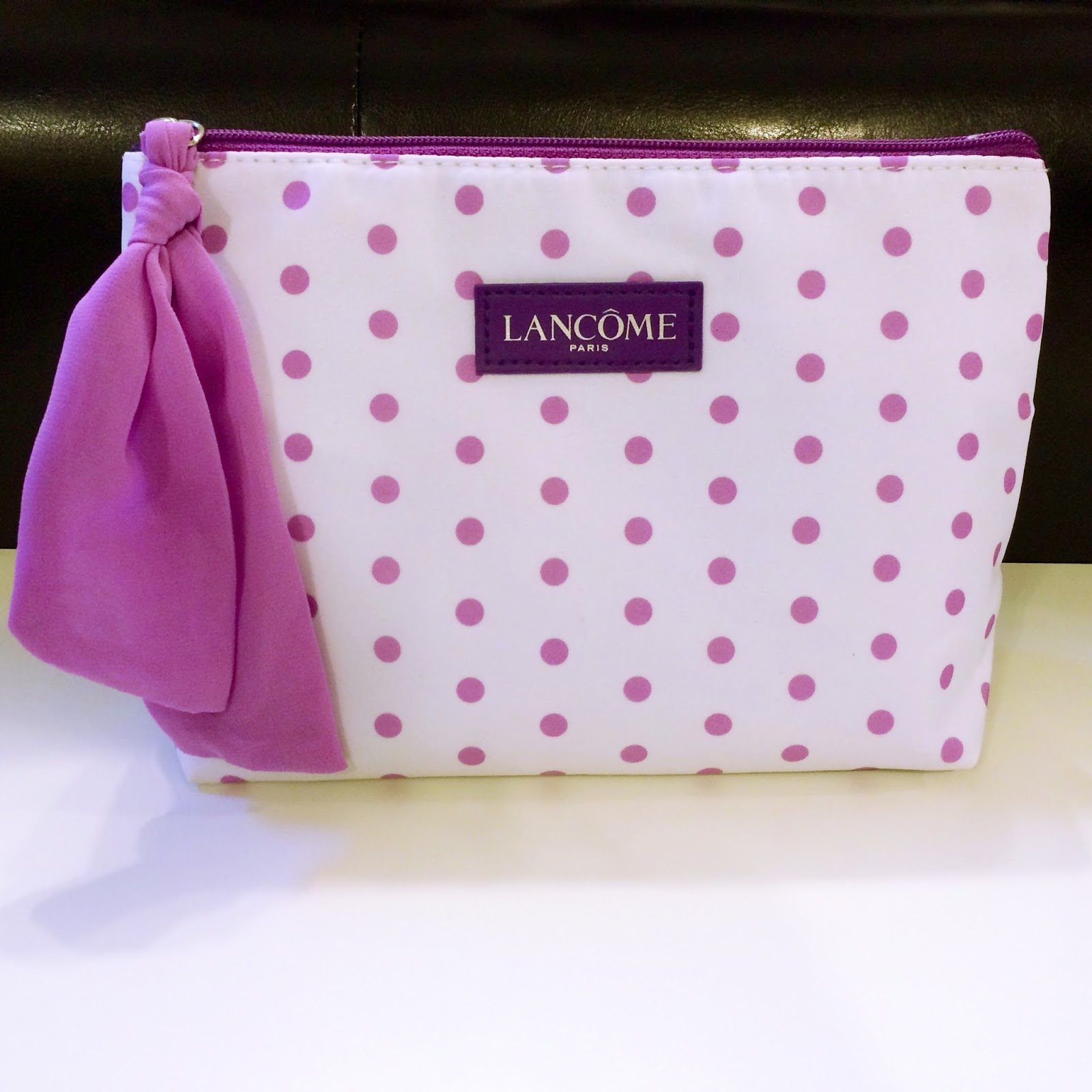 The Final Piece Of Mini Kit That I Received What This Purple Polka Dot Makeup Bag It Is Made From A Canvas Like Material Which Makes Difficult To