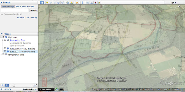 Overlay of Thompson map in Google Earth
