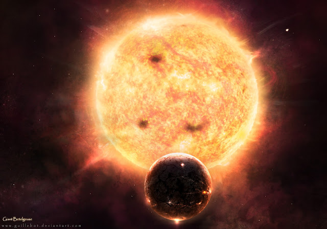 Betegeuse, estrela vermelha, sol central, explosão estelar