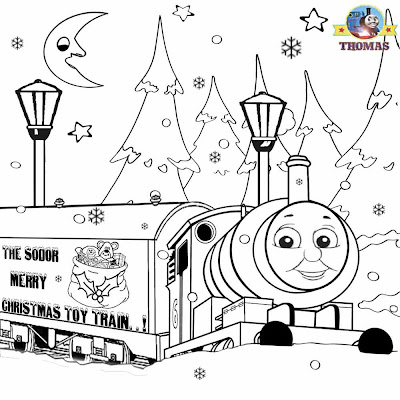 Childrens merry Christmas toy train Percy the tank engine and Thomas pictures to print and color in