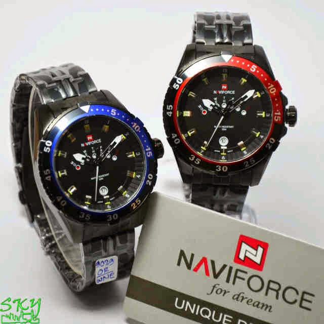 Naviforce 9029 FB Original hitam list biru dan merah