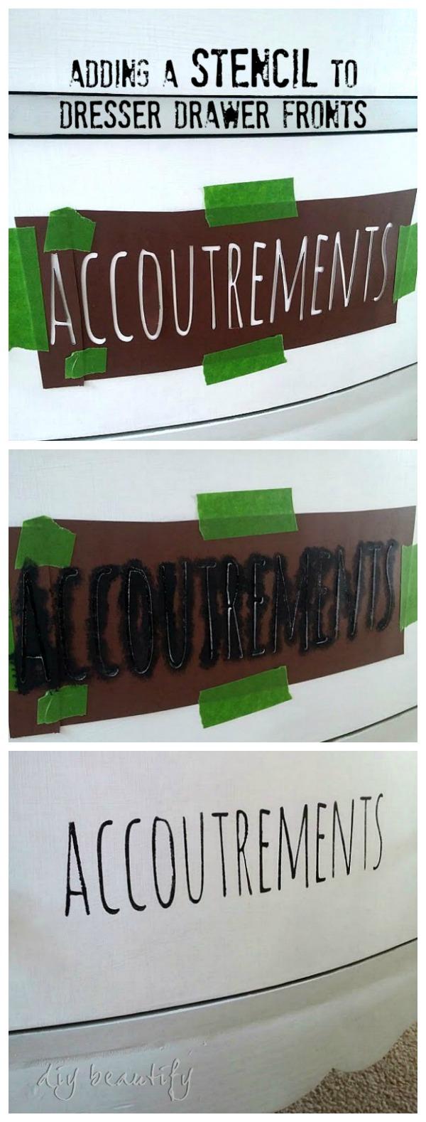 stenciled dresser DIY beautify