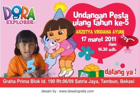 Undangan Ulang tahun anak Dora