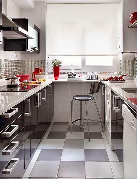 amenajari, interioare, decoratiuni, decor, design interior, bucatarie, U, alb negru, modern